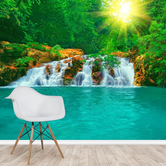 Rock Pool & Waterfall wallpaper mural room setting