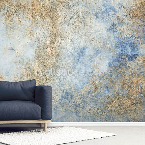 Blue Oxidize wall mural room setting