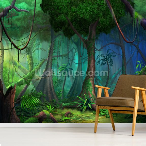 Rainforest mural wallpaper room setting