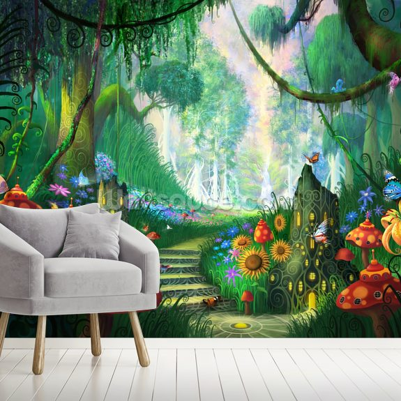 Hidden Treasure mural wallpaper room setting