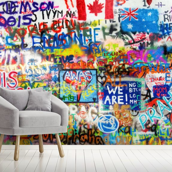 Graffiti Panorama mural wallpaper room setting