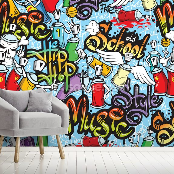 Graffiti Characters wall mural room setting