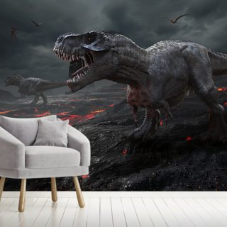 Dinosaurs Fire Wallpaper Wall Murals