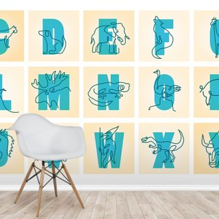 Animal Alphabet Blue (Landscape) Wallpaper Wall Murals