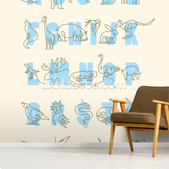 Animal Alphabet Blue (Portrait) mural wallpaper room setting