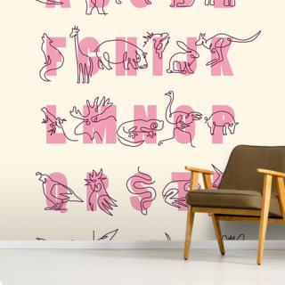 Animal Alphabet Pink (Portrait) Wallpaper Wall Murals