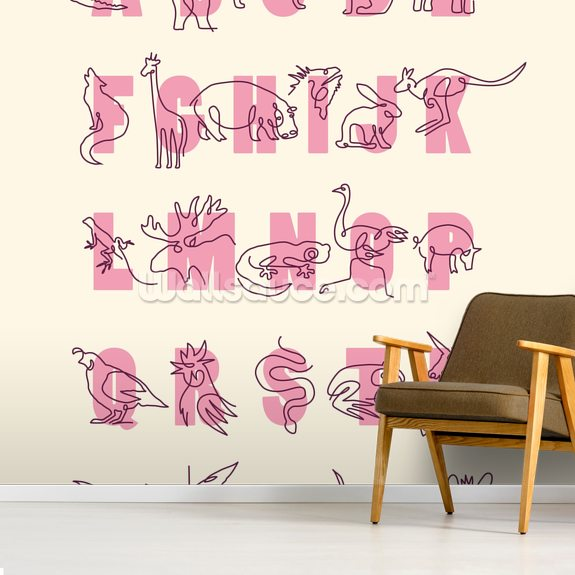 Animal Alphabet Pink (Portrait) wall mural room setting