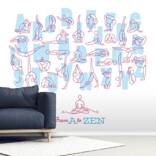 A to Zen Blue & Pink Wallpaper Wall Murals