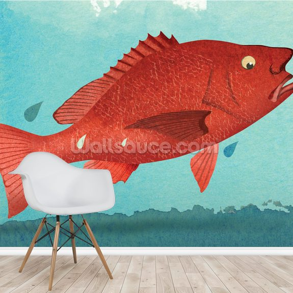 Fish Fear wallpaper mural room setting