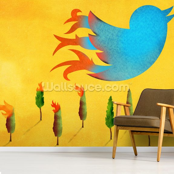 Tweet wallpaper mural room setting