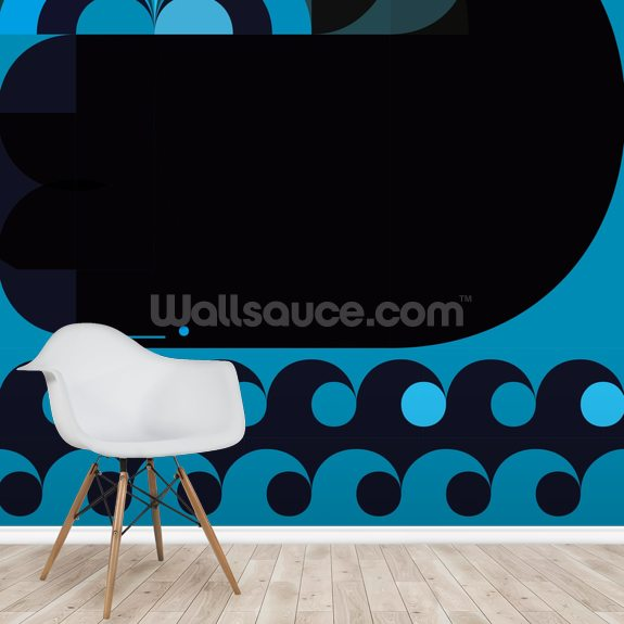 Grand Chacalot Blue wall mural room setting
