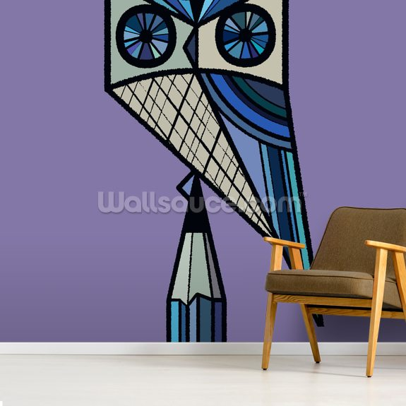 Stay Sharp Purple mural wallpaper room setting