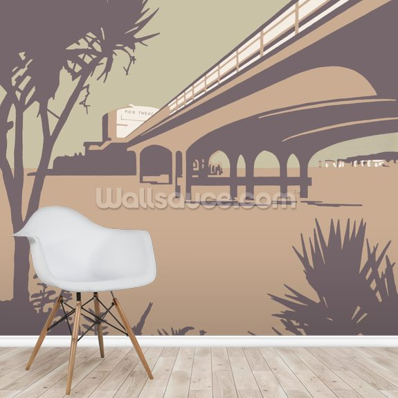 Bournemouth Pier and Beach mural wallpaper room setting
