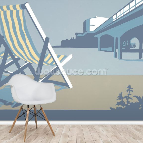Bournemouth Pier and Deckchairs wall mural room setting