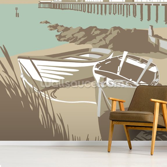 Southwold Boats and Pier wall mural room setting