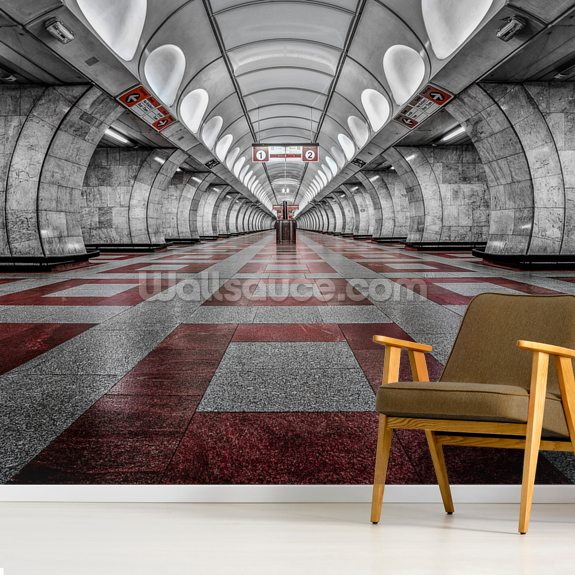 Prague Metro mural wallpaper room setting