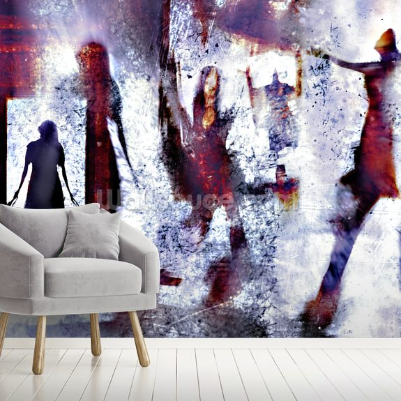 These Walls are Alive mural wallpaper room setting