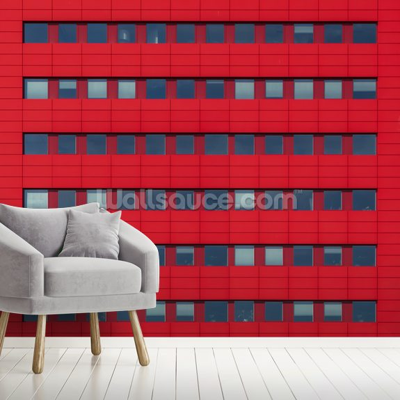Red front wall mural room setting