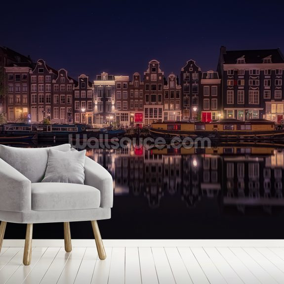 Amsterdam Refelections mural wallpaper room setting