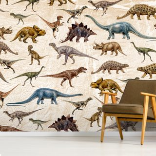 Dinosaurs Pattern Wallpaper Wall Murals