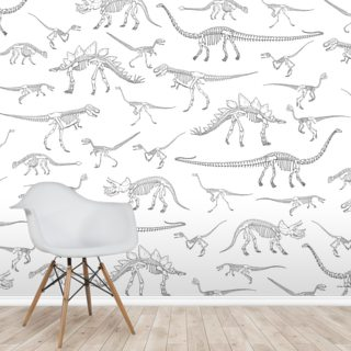 Dino Walking Skeletons (White & Grey) Wallpaper Wall Murals
