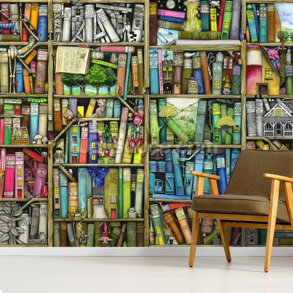 Bookshelf wall mural room setting