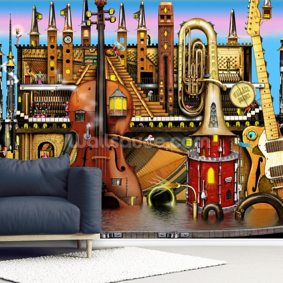 Music Castle wallpaper mural room setting