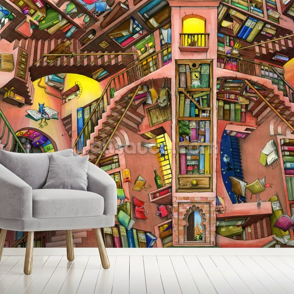 Library by Colin Thompson wall mural room setting