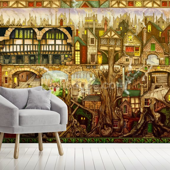 Treetown wallpaper mural room setting