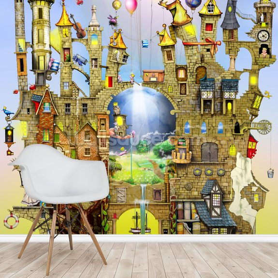 Castles in the air wall mural room setting