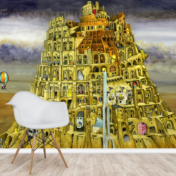 Babel mural wallpaper room setting