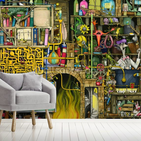 Laboratory wallpaper mural room setting