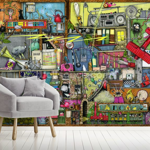Too Loud mural wallpaper room setting