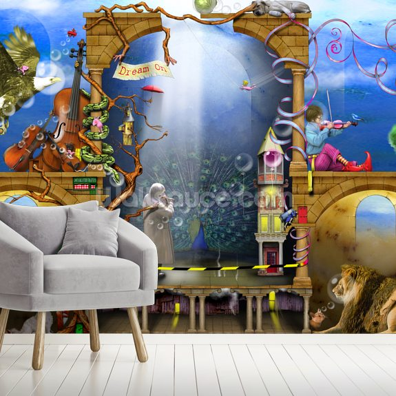 Dream On wall mural room setting