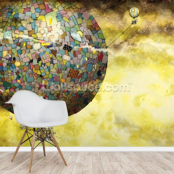 Up, Up and Away mural wallpaper room setting