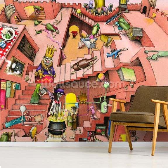 Lunch mural wallpaper room setting