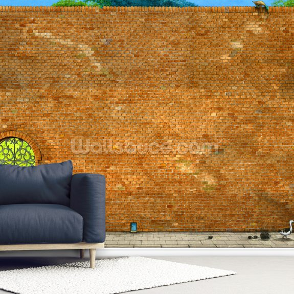The Wall by Colin Thompson wallpaper mural room setting