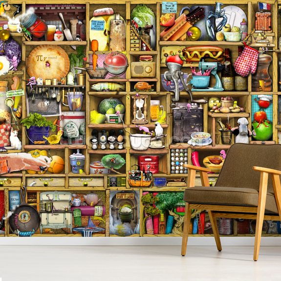 Kitchen Cupboard mural wallpaper room setting
