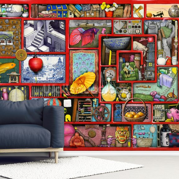 Big Red Box wallpaper mural room setting