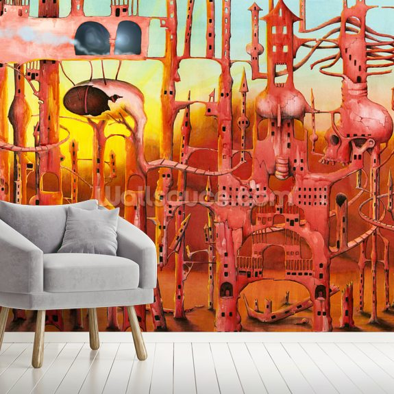 Mars wall mural room setting