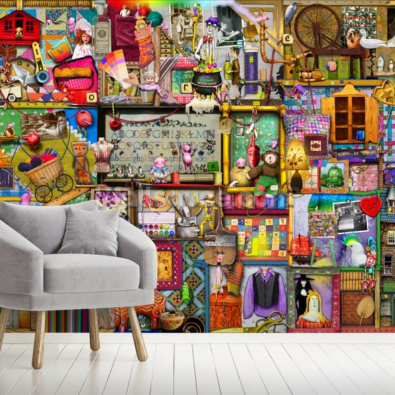The Craft Cupboard mural wallpaper room setting