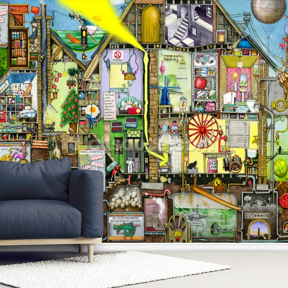Tomorrow's World wall mural room setting