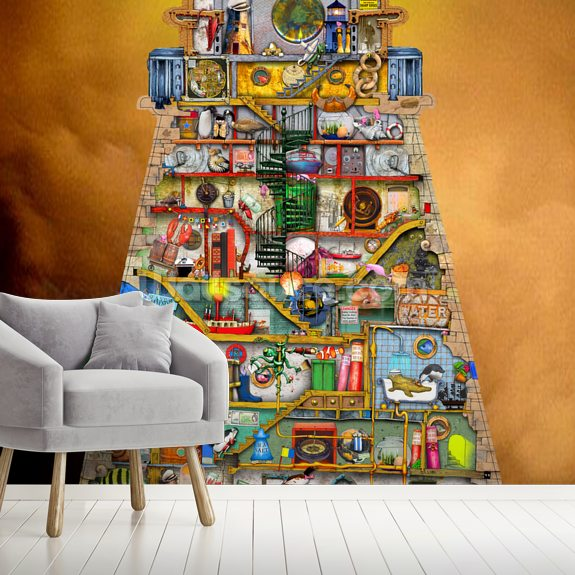 Lighthouse wall mural room setting