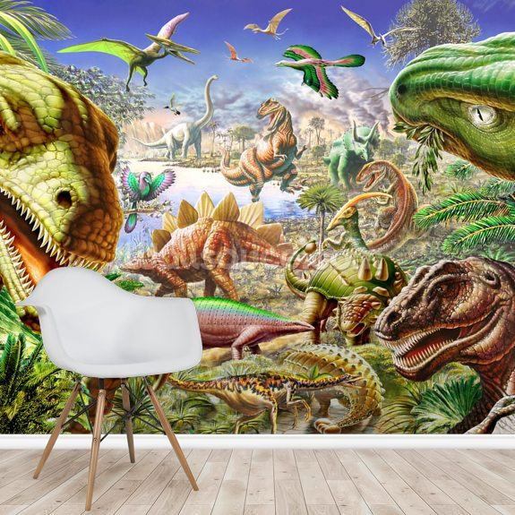 Dinosaurs World wallpaper mural room setting