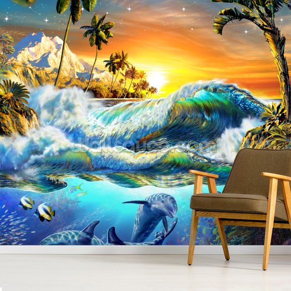 Hawaiian Dawn wallpaper mural room setting