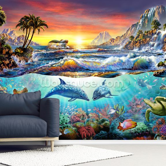 Paradise Bay mural wallpaper room setting
