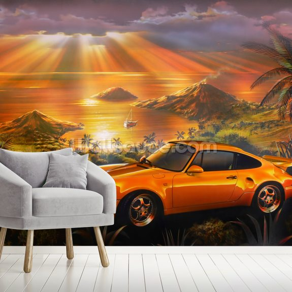 Porsche Beach wallpaper mural room setting