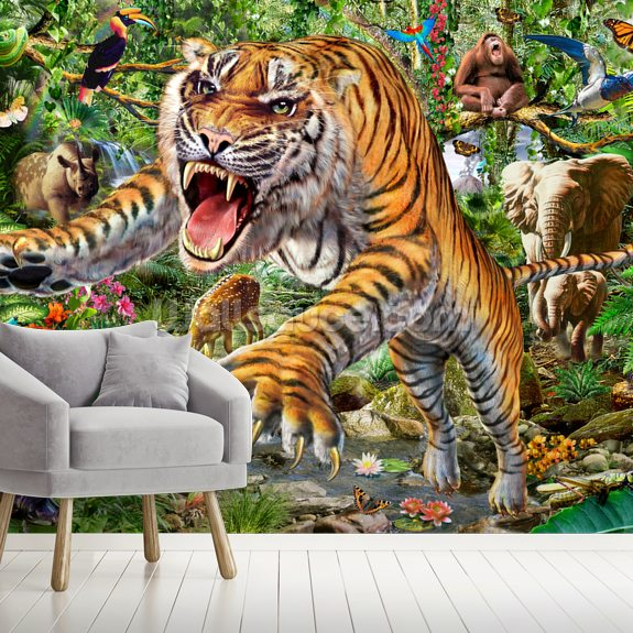 Tiger and Wildlife wall mural room setting