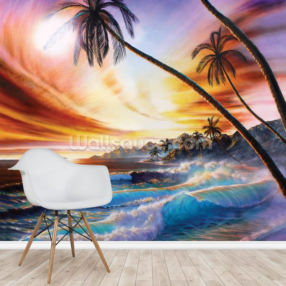 Tropical Beach by Adrian Chesterman mural wallpaper room setting