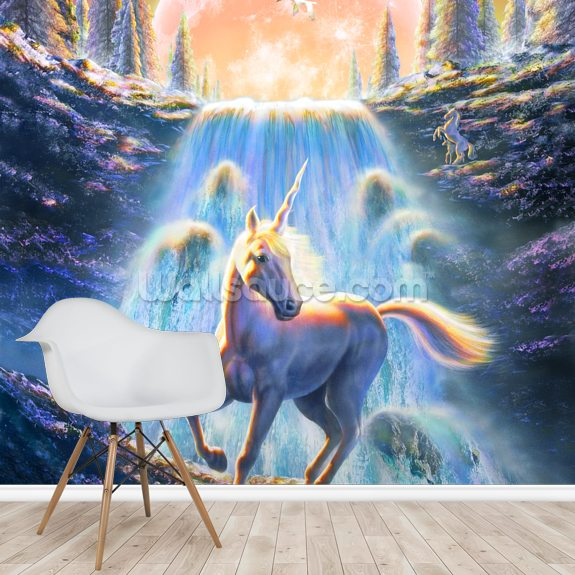 Unicorn Sunset wall mural room setting